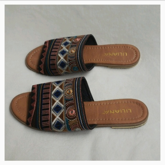 e6eb68a39d4280 Liliana Tribal Embroidery Slide Sandal